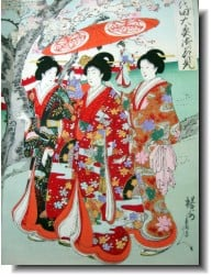 Cherry-blossom viewing as depicted by Chikanobu, (1838-1912, painted around 1895.)