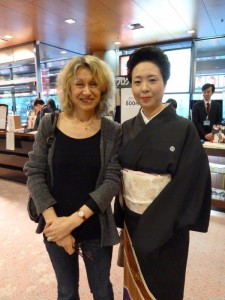With Kiyoha-san, a famous and beautiful geisha in the Shimbashi district whose speciality is Kiyomoto singing, just after she had performed at Tokyo's National Theatre.