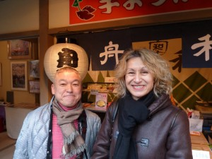 With Shichiko-san, a taikomochi or 'drumbearer', a sort of jester, and an important part of the Tokyo geisha world.
