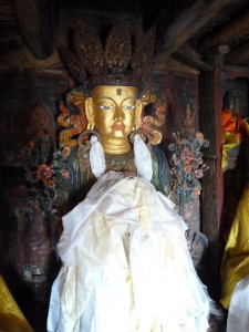 A Buddha image at Thiksey monastery