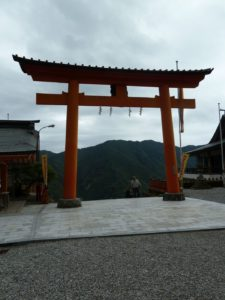 Great torii gateway leading to the Kumano Nachi Taisha shrine