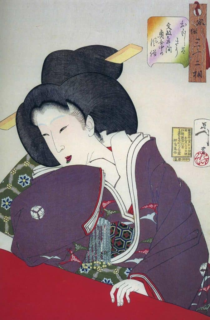 Court lady of the Women's Palace with blackened teeth and iridescent green lipstick. Woodblock print by Yoshitoshi (1839 - 1892)