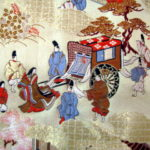 Heian nobles, noblewomen and a carriage