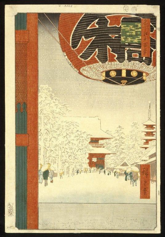 Asakusa temple at the time of the shoguns, by Utagawa Hiroshige (1797 - 1858)