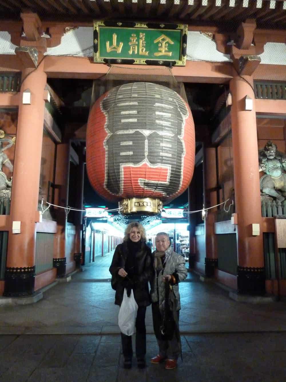 Asakusa temple now (with me and my friend Shichiko, a male geisha)