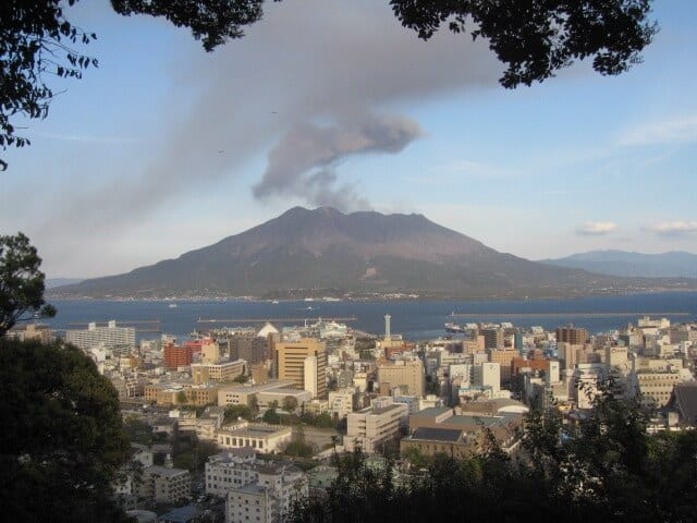 Sakurajima volcano belching black ash