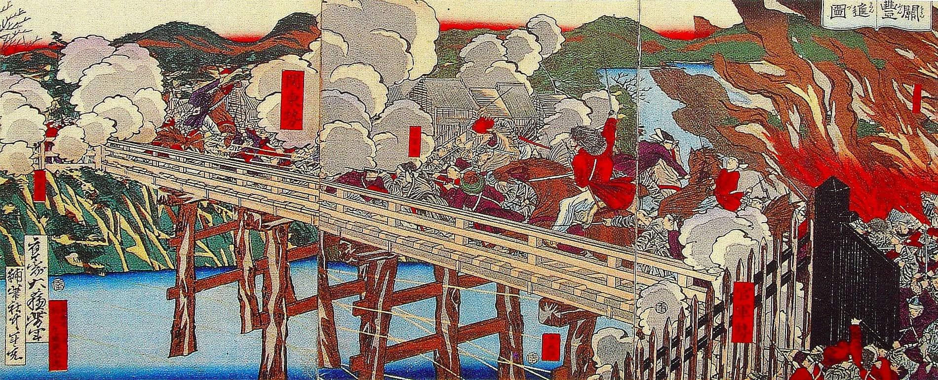Troops clash on the bridge at Fushimi